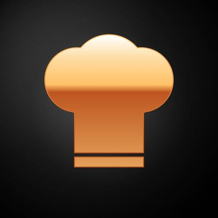 Gold Chef hat icon isolated on black background. Cooking symbol. Cooks hat. Vector Illustration