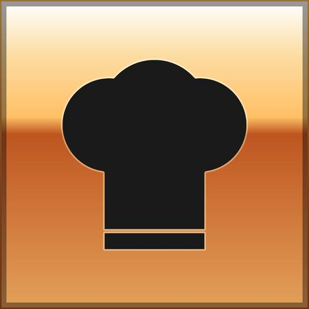 Black Chef hat icon isolated on gold background. Cooking symbol. Cooks hat. Vector Illustration