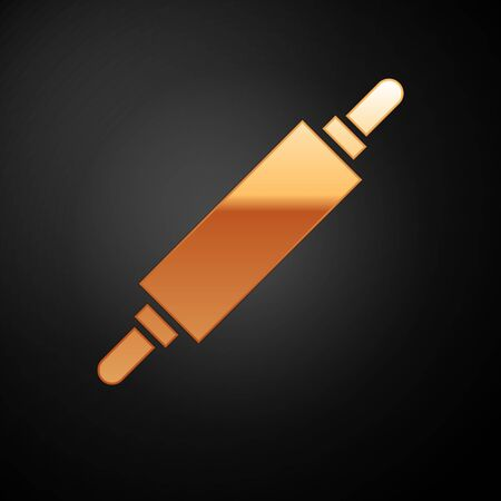 Gold Rolling pin icon isolated on black background. Vector Illustration 일러스트