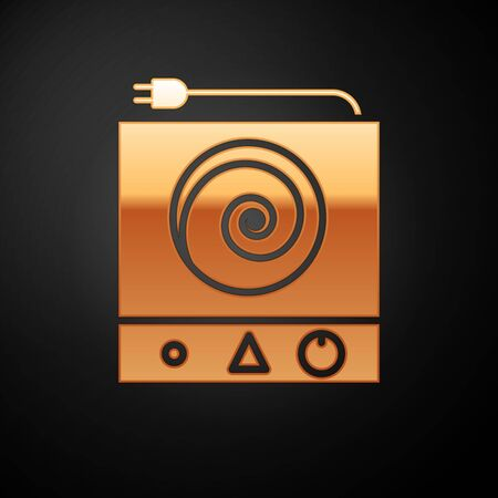 Gold Electric stove icon isolated on black background. Cooktop sign. Hob with four circle burners. Vector Illustration