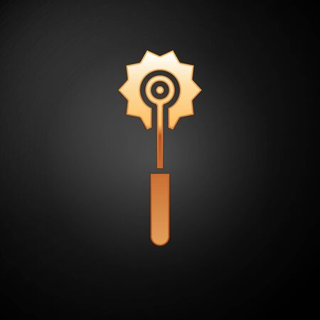 Gold Pizza knife icon isolated on black background. Pizza cutter sign. Steel kitchenware equipment. Vector Illustration