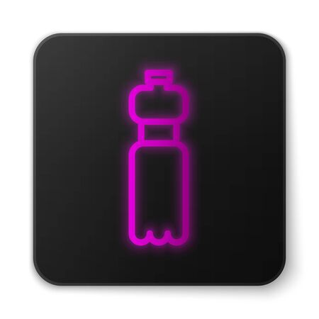 Glowing neon line Bottle of water icon isolated on white background. Soda aqua drink sign. Black square button. Vector Illustration Ilustracja