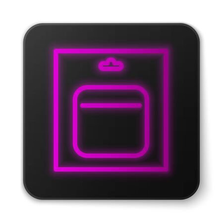 Glowing neon line Battery in pack icon isolated on white background. Lightning bolt symbol. Black square button. Vector Illustration