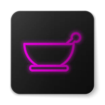 Glowing neon line Mortar and pestle icon isolated on white background. Black square button. Vector Illustration