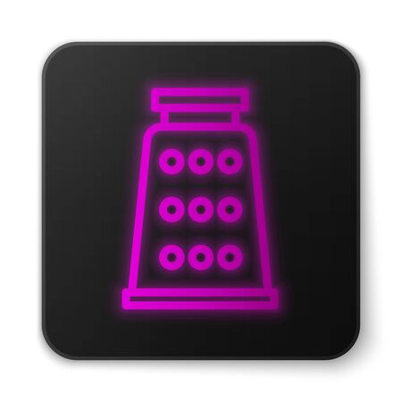Glowing neon line Grater icon isolated on white background. Kitchen symbol. Cooking utensil. Cutlery sign. Black square button. Vector Illustration
