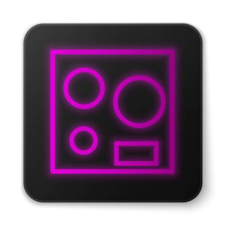 Glowing neon line Electric stove icon isolated on white background. Cooktop sign. Hob with four circle burners. Black square button. Vector Illustration
