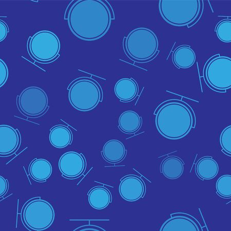Blue Round makeup mirror icon isolated seamless pattern on blue background. Vector Illustration