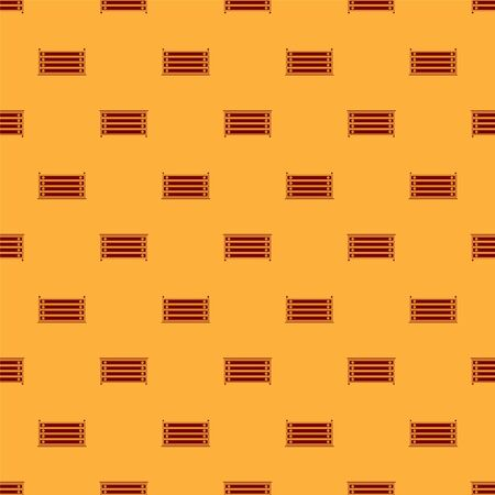 Red Chest of drawers icon isolated seamless pattern on brown background. Vector Illustration