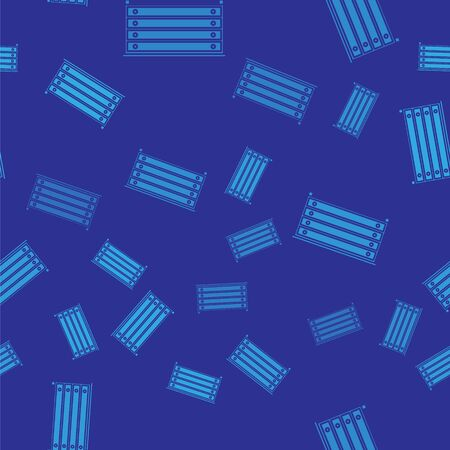 Blue Chest of drawers icon isolated seamless pattern on blue background. Vector Illustration Ilustração