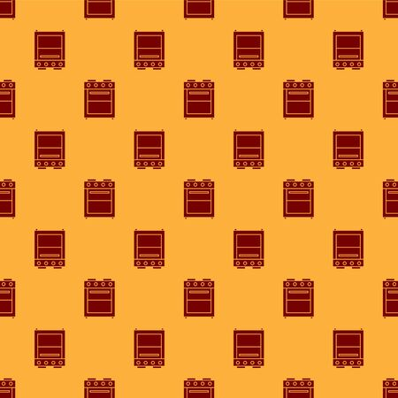 Red Oven icon isolated seamless pattern on brown background. Stove gas oven sign. Vector Illustration