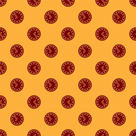 Red Clock icon isolated seamless pattern on brown background. Time symbol. Vector Illustration Ilustracja