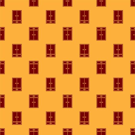 Red Wardrobe icon isolated seamless pattern on brown background. Vector Illustration
