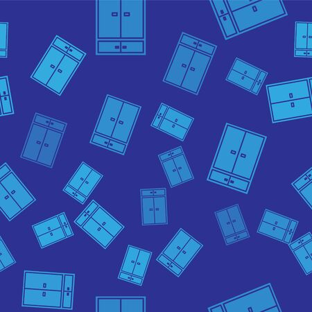 Blue Wardrobe icon isolated seamless pattern on blue background. Vector Illustration