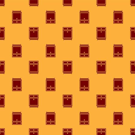 Red Furniture nightstand icon isolated seamless pattern on brown background. Vector Illustration