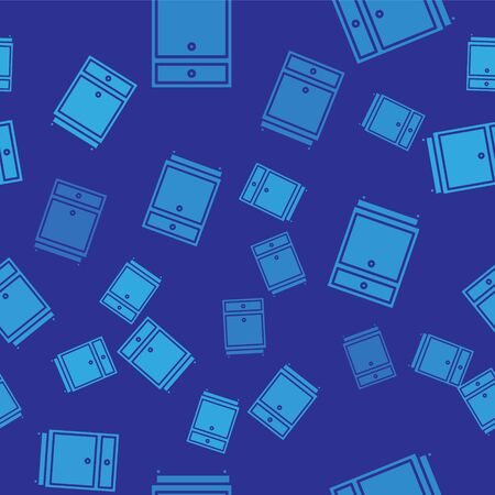 Blue Furniture nightstand icon isolated seamless pattern on blue background. Vector Illustration