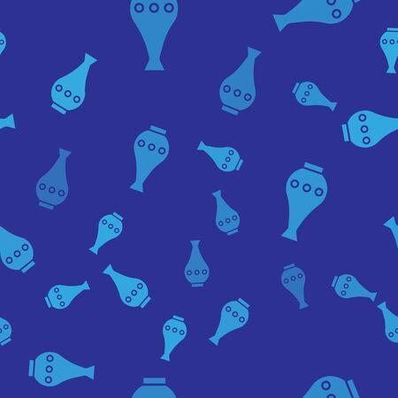 Blue Vase icon isolated seamless pattern on blue background. Vector Illustration