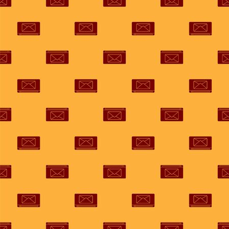 Red Mail and e-mail icon isolated seamless pattern on brown background. Envelope symbol e-mail. Email message sign. Vector Illustration
