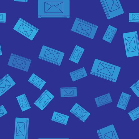 Blue Mail and e-mail icon isolated seamless pattern on blue background. Envelope symbol e-mail. Email message sign. Vector Illustration