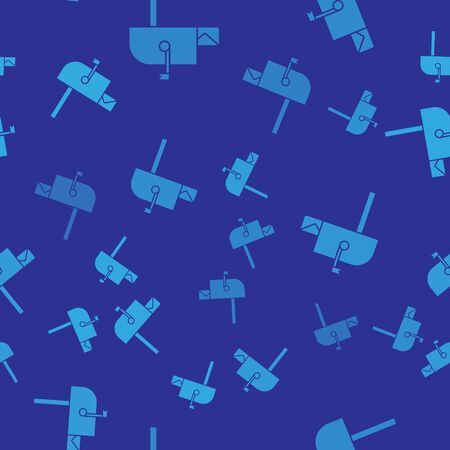 Blue Open mail box icon isolated seamless pattern on blue background. Mailbox icon. Mail postbox on pole with flag. Vector Illustration