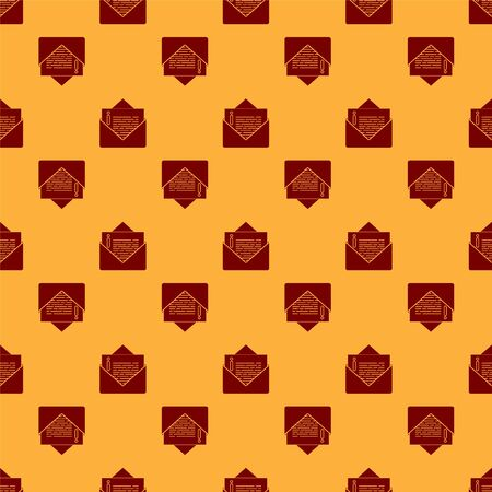 Red Envelope icon isolated seamless pattern on brown background. Email message letter symbol. Vector Illustration