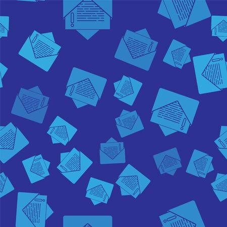 Blue Envelope icon isolated seamless pattern on blue background. Email message letter symbol. Vector Illustration 일러스트