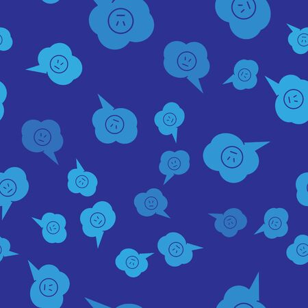 Blue Speech bubble with angry smile icon isolated seamless pattern on blue background. Emoticon face. Vector Illustration