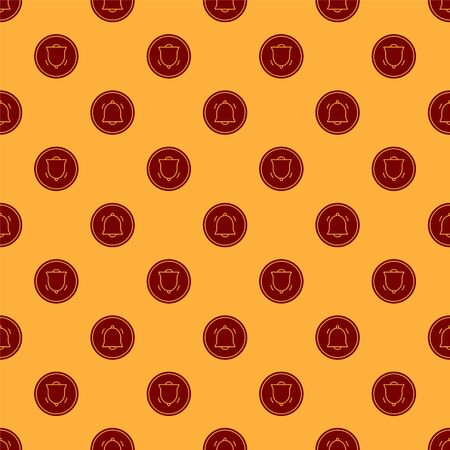 Red Circle button and chat notification icon isolated seamless pattern on brown background. New message, dialog, chat, social network notification. Vector Illustration Ilustracja