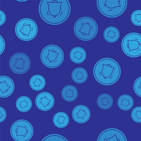 Blue Circle button and chat notification icon isolated seamless pattern on blue background. New message, dialog, chat, social network notification. Vector Illustration