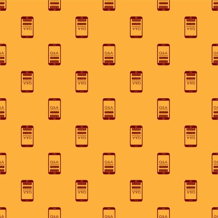 Red Mobile phone with Question and Exclamation icon isolated seamless pattern on brown background. Frequently asked questions. Vector Illustration