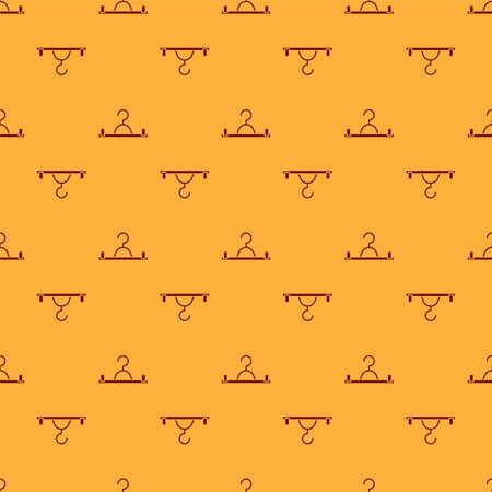 Red Hanger wardrobe icon isolated seamless pattern on brown background. Cloakroom icon. Clothes service symbol. Laundry hanger sign. Vector Illustration