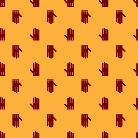 Red Leather glove icon isolated seamless pattern on brown background. Vector Illustration