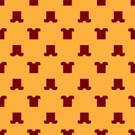 Red T-shirt icon isolated seamless pattern on brown background. Vector Illustration Vettoriali