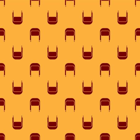 Red Winter hat with ear flaps icon isolated seamless pattern on brown background. Vector Illustration