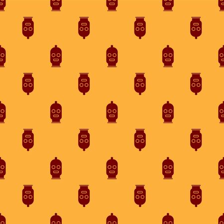 Red Balaclava icon isolated seamless pattern on brown background. A piece of clothing for winter sports or a mask for a criminal or a thief. Vector Illustration 일러스트