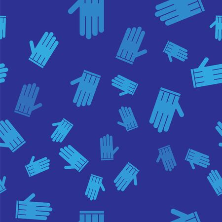 Blue Leather glove icon isolated seamless pattern on blue background. Vector Illustration