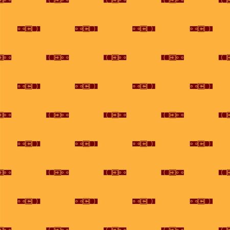 Red Leather belt with buttoned steel buckle icon isolated seamless pattern on brown background. Vector Illustration