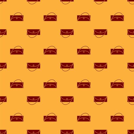 Red Clutch bag icon isolated seamless pattern on brown background. Women clutch purse. Vector Illustration