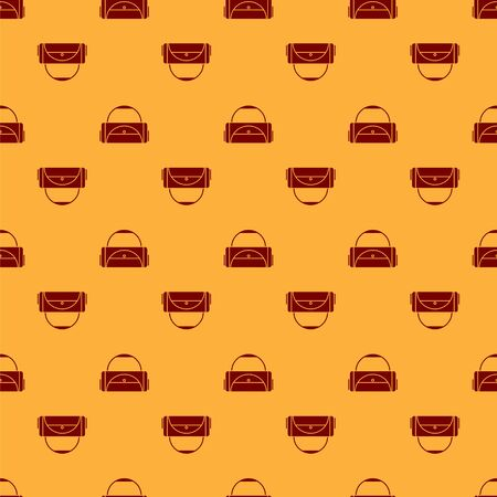 Red Sport bag icon isolated seamless pattern on brown background. Vector Illustration