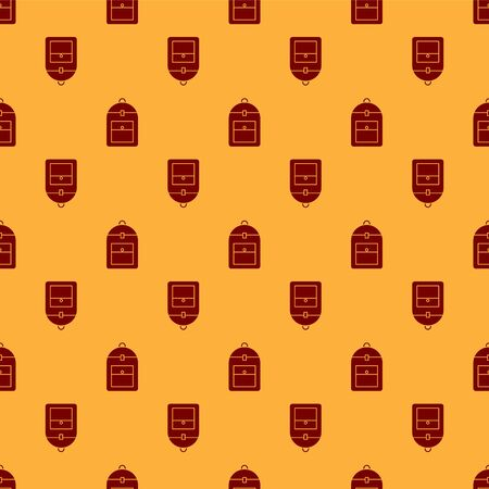 Red Backpack icon isolated seamless pattern on brown background. Vector Illustration