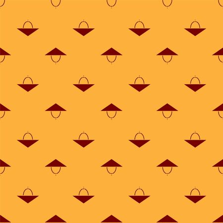Red Asian conical hat icon isolated seamless pattern on brown background. Chinese conical straw hat. Vector Illustration