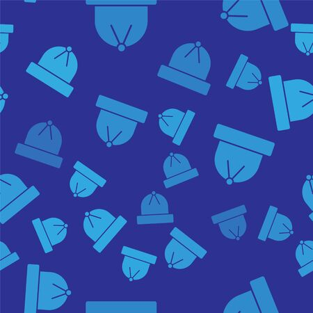 Blue Winter hat icon isolated seamless pattern on blue background. Vector Illustration 일러스트