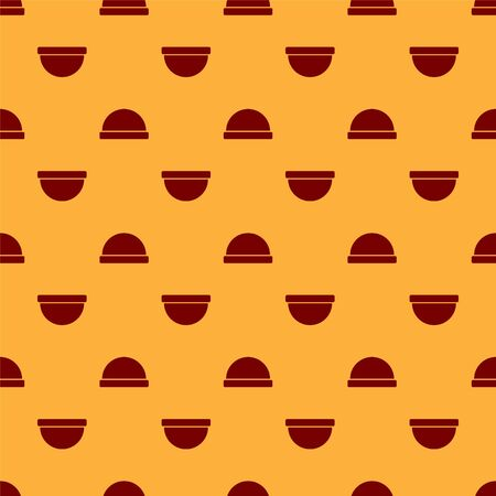 Red Beanie hat icon isolated seamless pattern on brown background. Vector Illustration