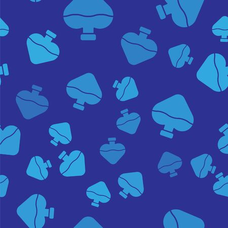 Blue Bottle with love potion icon isolated seamless pattern on blue background. Valentines day symbol. Vector Illustration Illustration