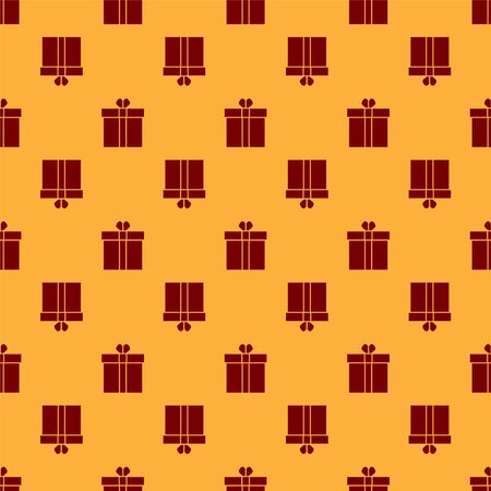 Red Gift box and heart icon isolated seamless pattern on brown background. Valentines day. Vector Illustration