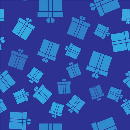 Blue Gift box and heart icon isolated seamless pattern on blue background. Valentines day. Vector Illustration Illustration