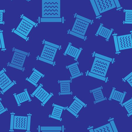 Blue Decree, paper, parchment, scroll icon icon isolated seamless pattern on blue background. Vector Illustration
