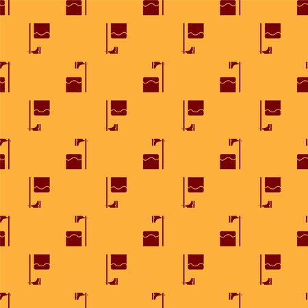 Red Executioner axe in tree block icon isolated seamless pattern on brown background. Hangman, torturer, executor, tormentor, butcher, headsman. Vector Illustration