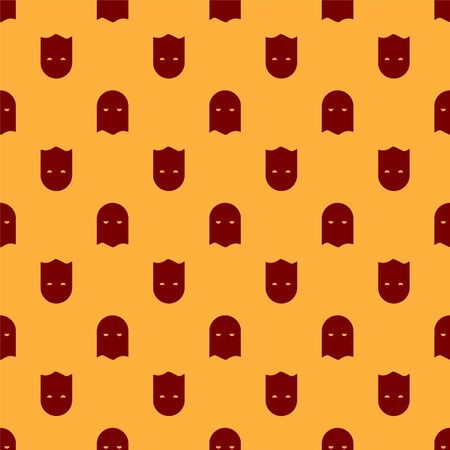 Red Executioner mask icon isolated seamless pattern on brown background. Hangman, torturer, executor, tormentor, butcher, headsman icon. Vector Illustration