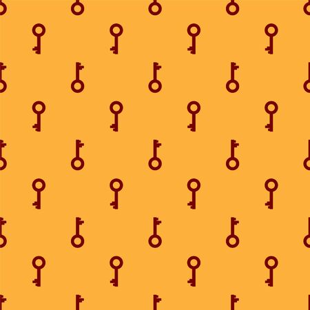 Red Old key icon isolated seamless pattern on brown background. Vector Illustration