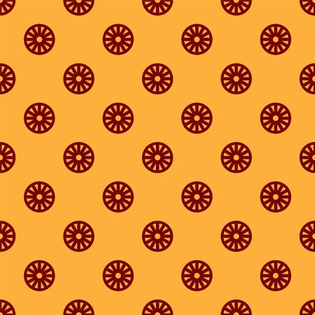 Red Old wooden wheel icon isolated seamless pattern on brown background. Vector Illustration